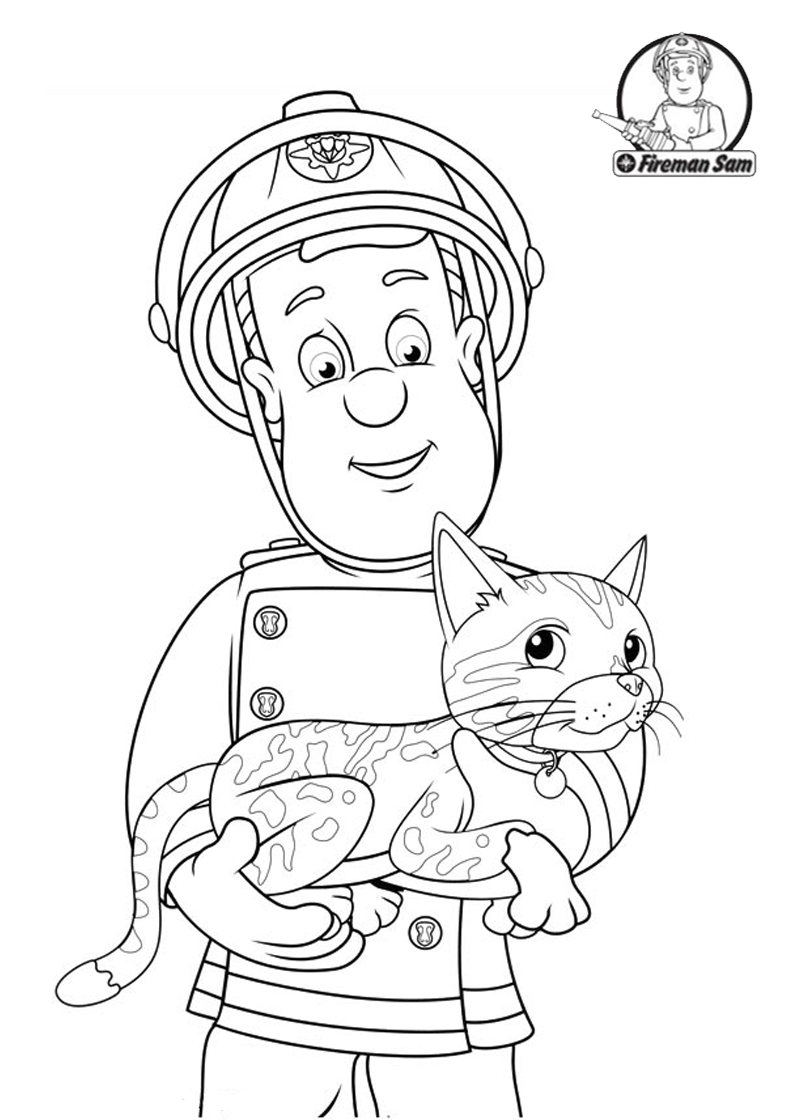 Santa Fireman Coloring Page With Sam Helping The Cat Pages