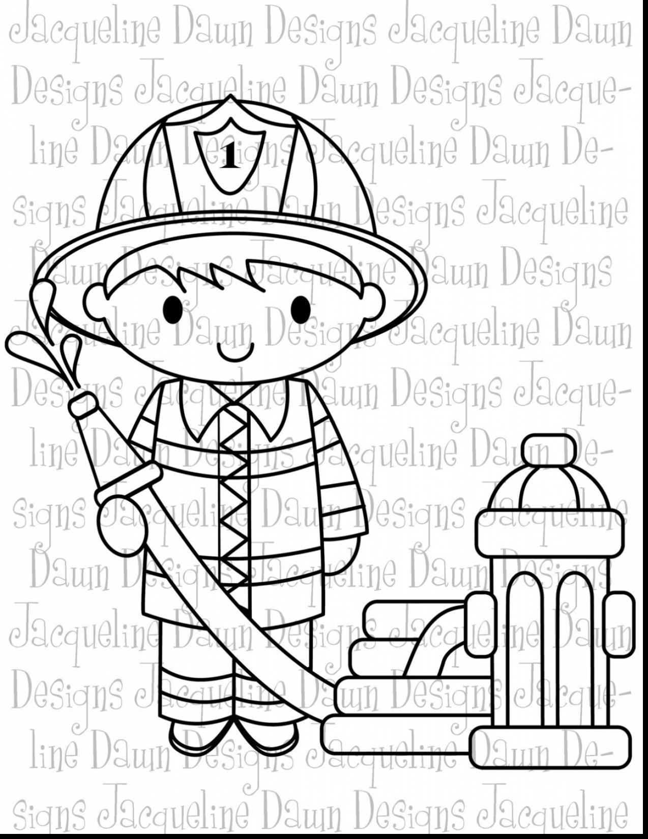 Santa Fireman Coloring Page With Unbelievable Firefighter Clip Art Black And White