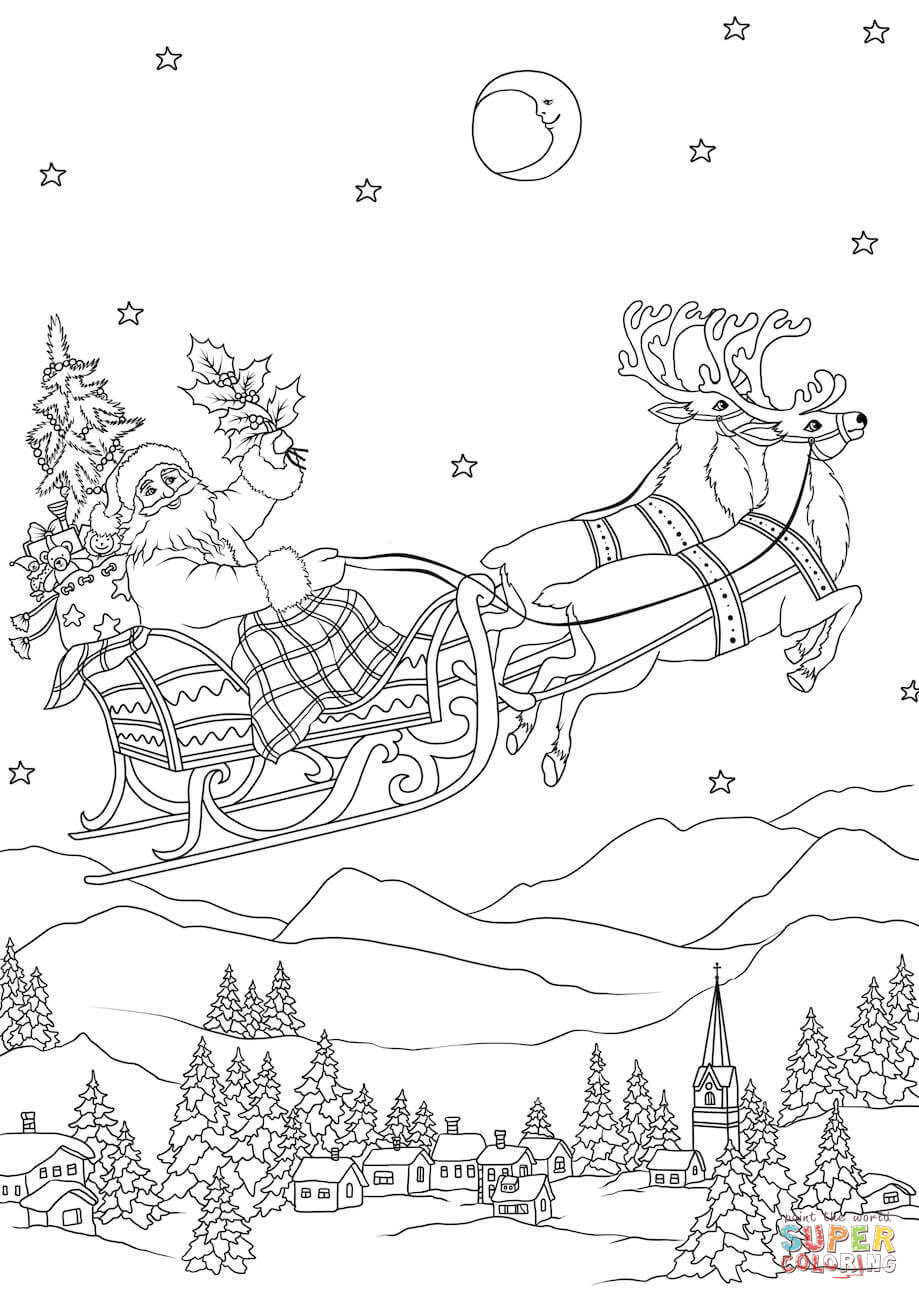 Santa Flying Coloring Pages With In His Sleigh Pulled By Reindeers At Night