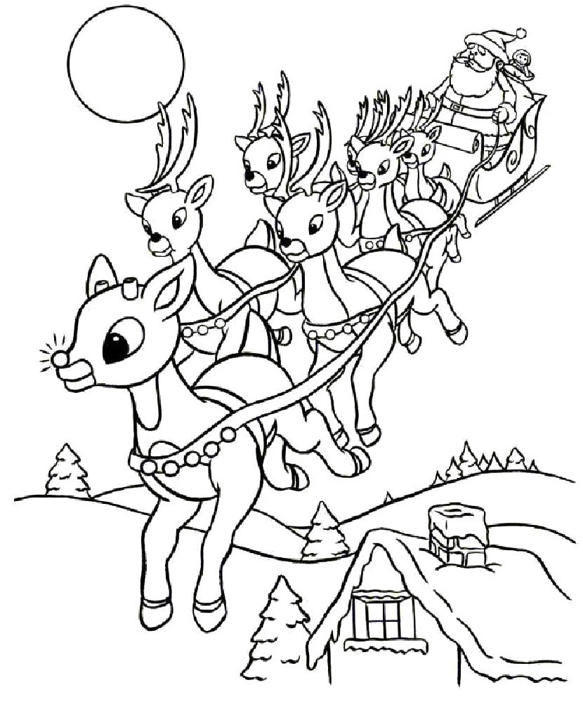 Santa Flying Coloring Pages With Laughing For Happiness Claus Reindeer And 2
