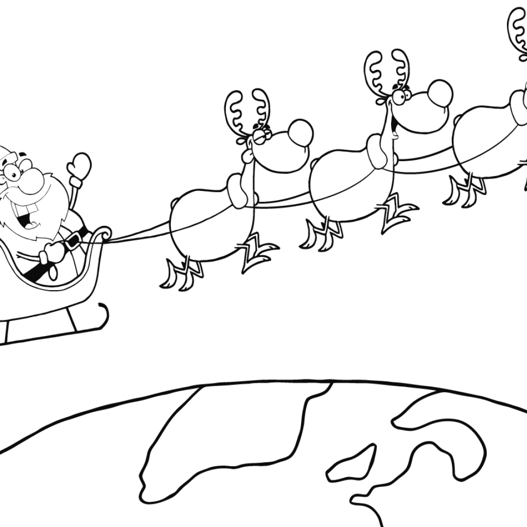 Santa Flying Coloring Pages With Team Of Reindeer And In His Sleigh Above The Earth