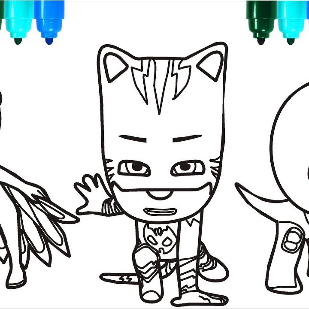 Santa For Coloring With PJ Masks Claus Pages Colouring Kids