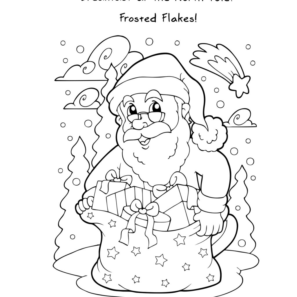 Santa Free Coloring With Printable Christmas Pages Jokes And