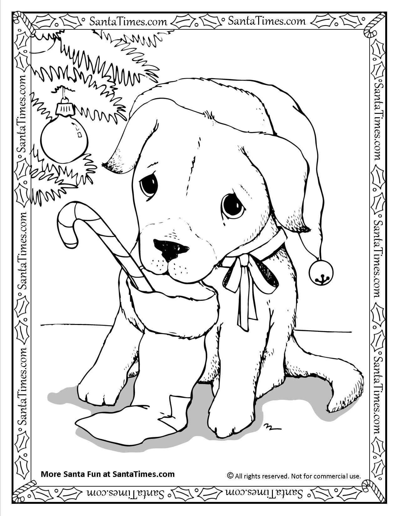 Santa Free Coloring With Puppy Page