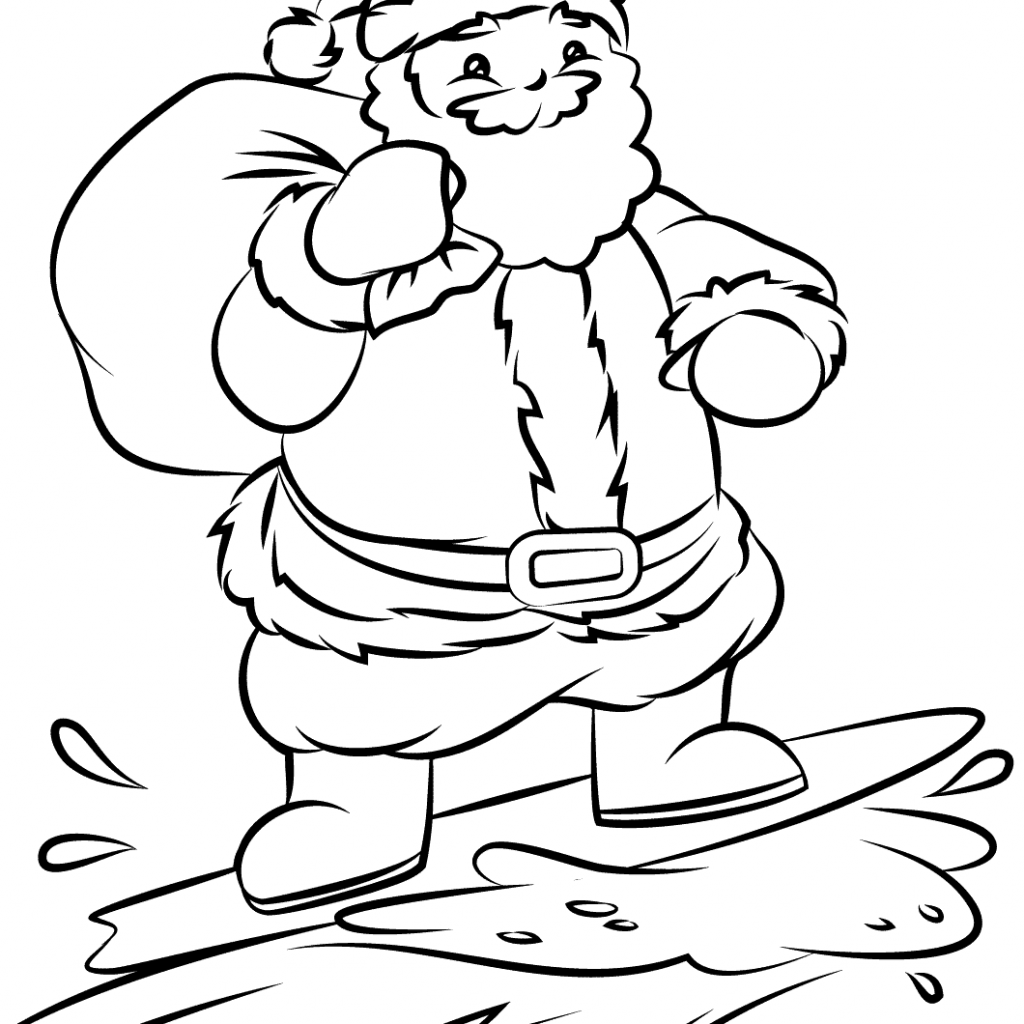 Santa Free Coloring With Surfing Page Printable Pages
