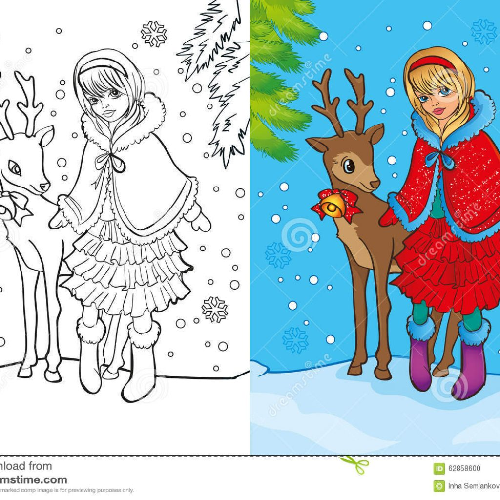 Santa Girl Coloring With Book Of Stands Deer Stock Illustration