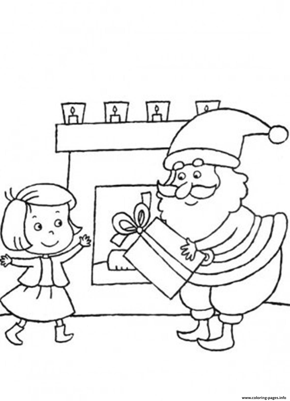 Santa Girl Coloring With Christmas S Delivering Gift For Little Girl84e1 Pages