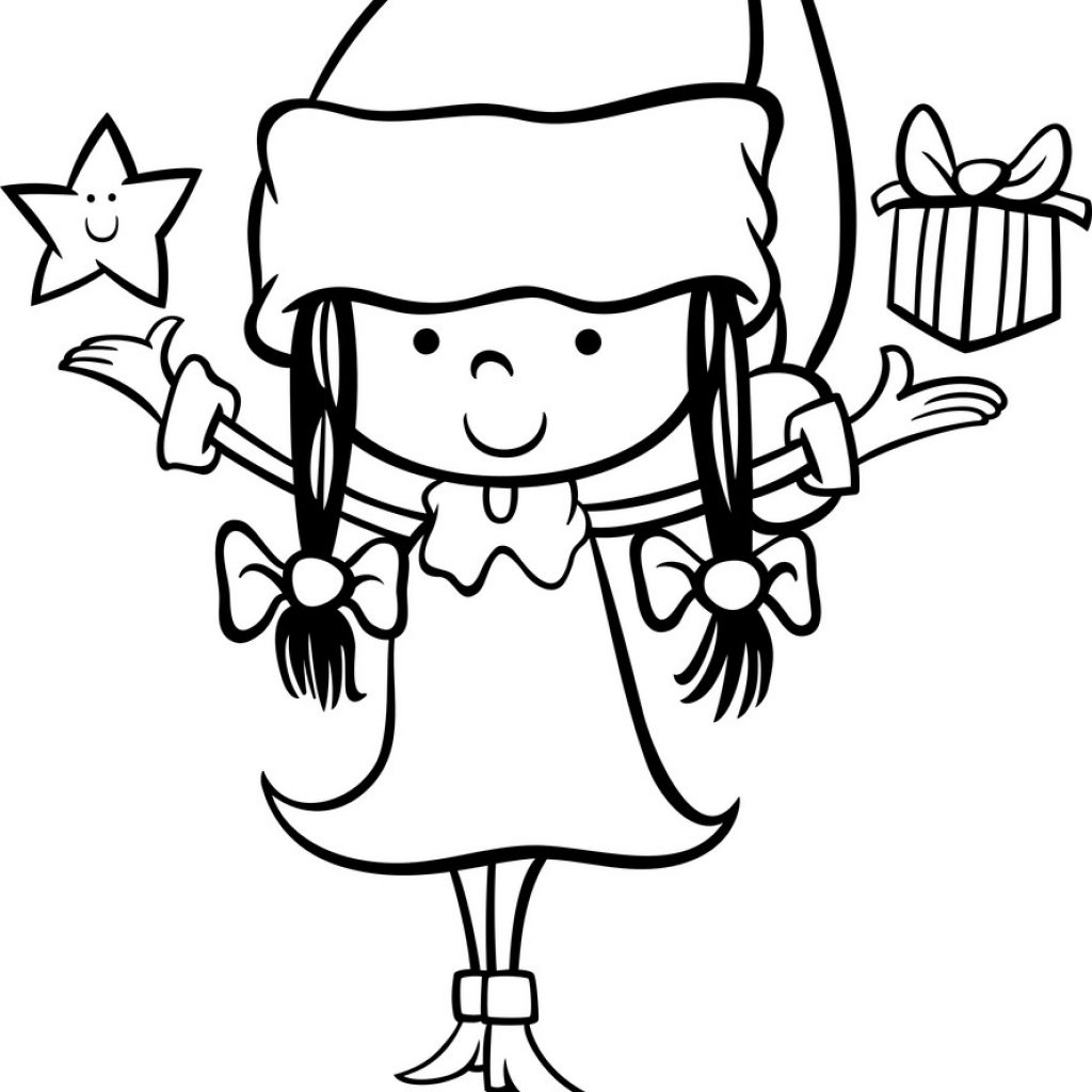 Santa Girl Coloring With Claus Cartoon Page Royalty Free Vector