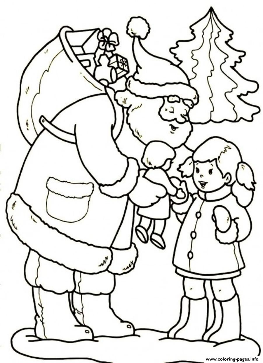 Santa Girl Coloring With Gives A Beautiful Doll Christmas 3557 Pages