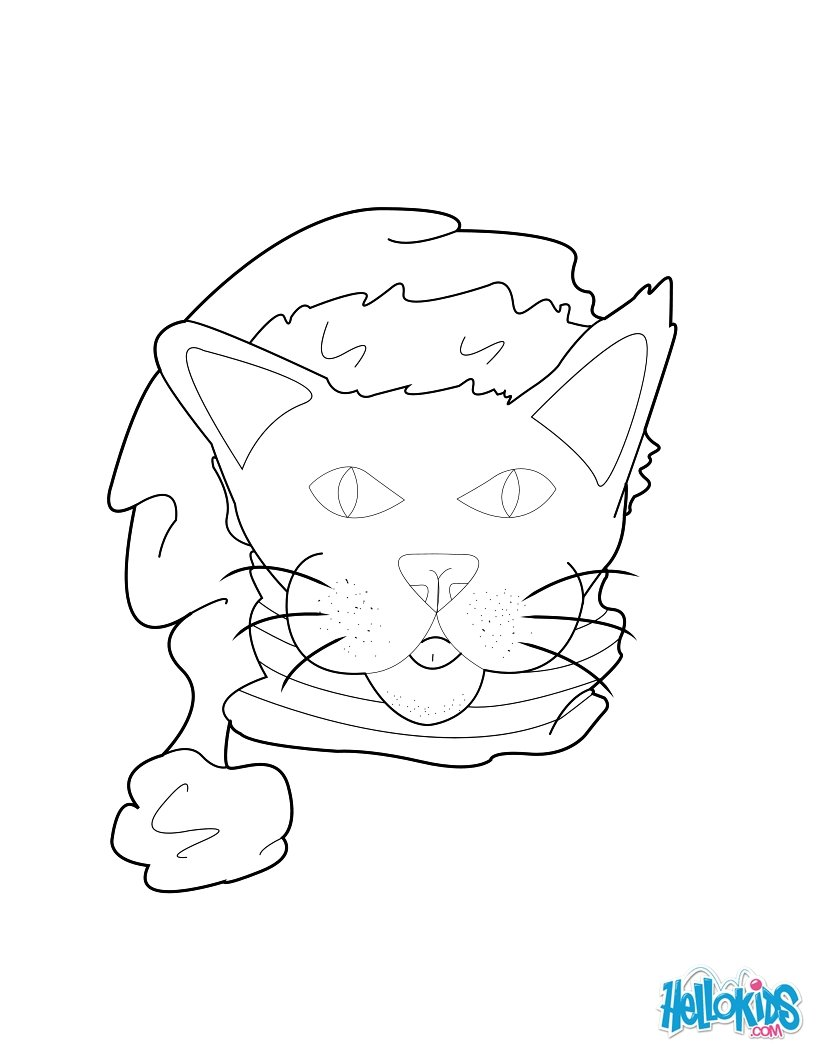 Santa Hat Coloring Page With Cat Pages Hellokids Com