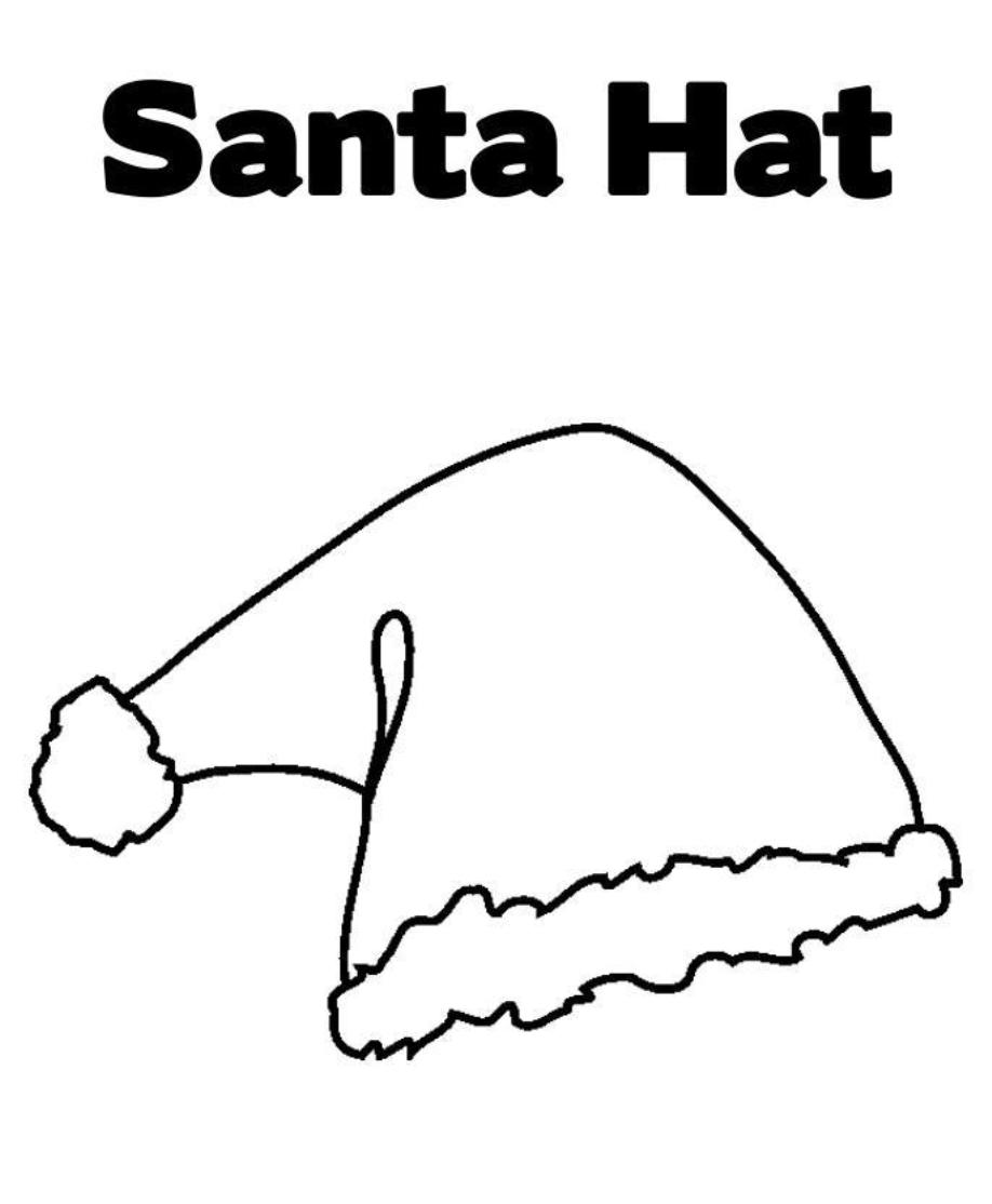 Santa Hat Coloring Page With Christmas Pages Printable For Free