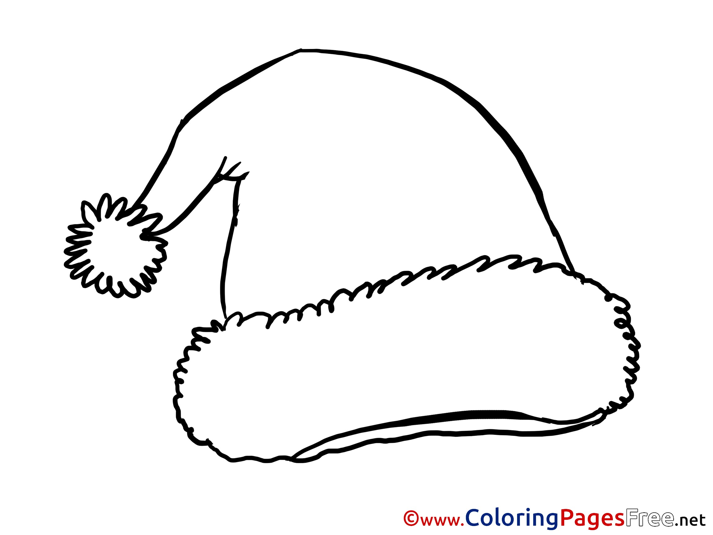 Santa Hat Coloring Page With Christmas Pages Valid
