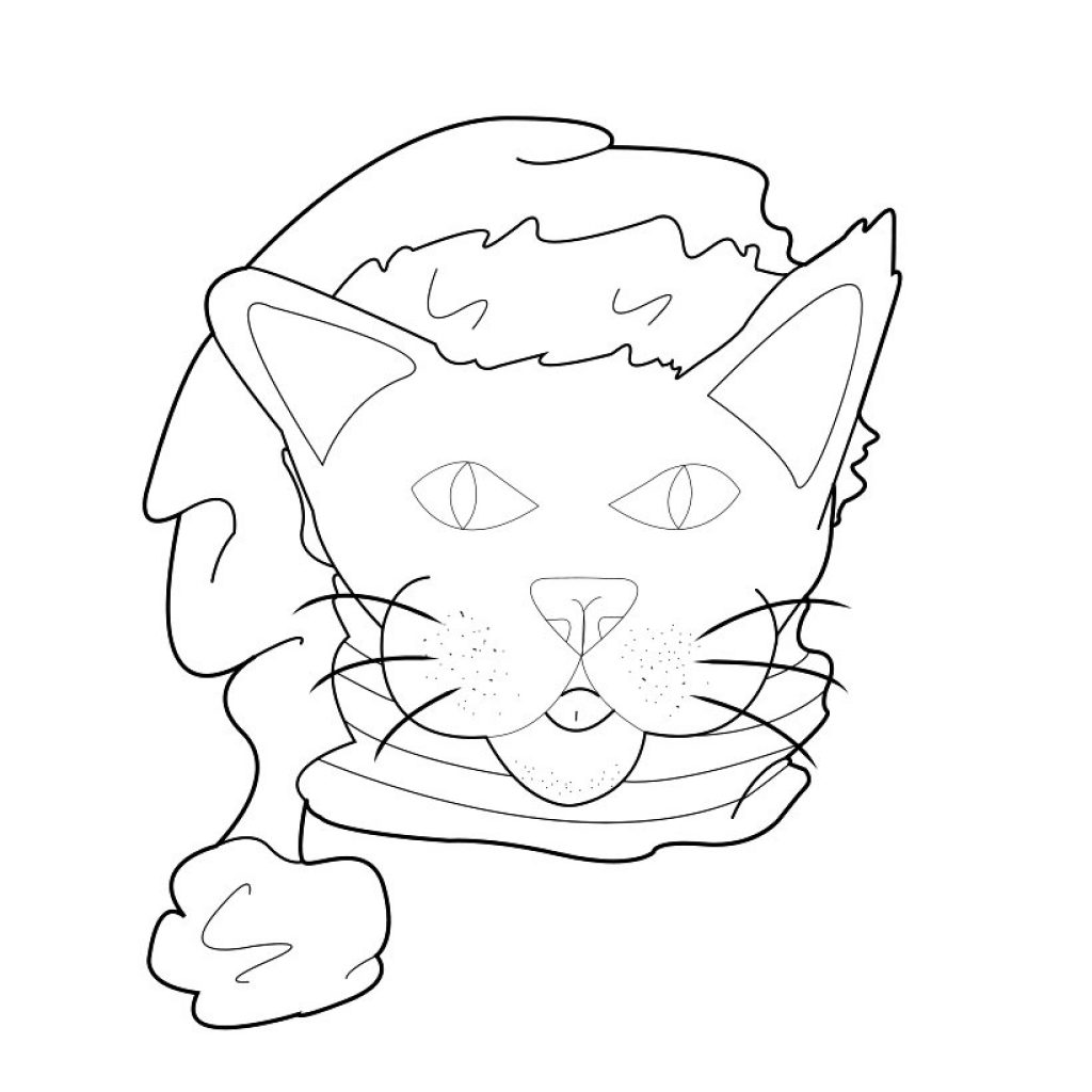 Santa Hat Coloring Picture With Cat Pages Hellokids Com