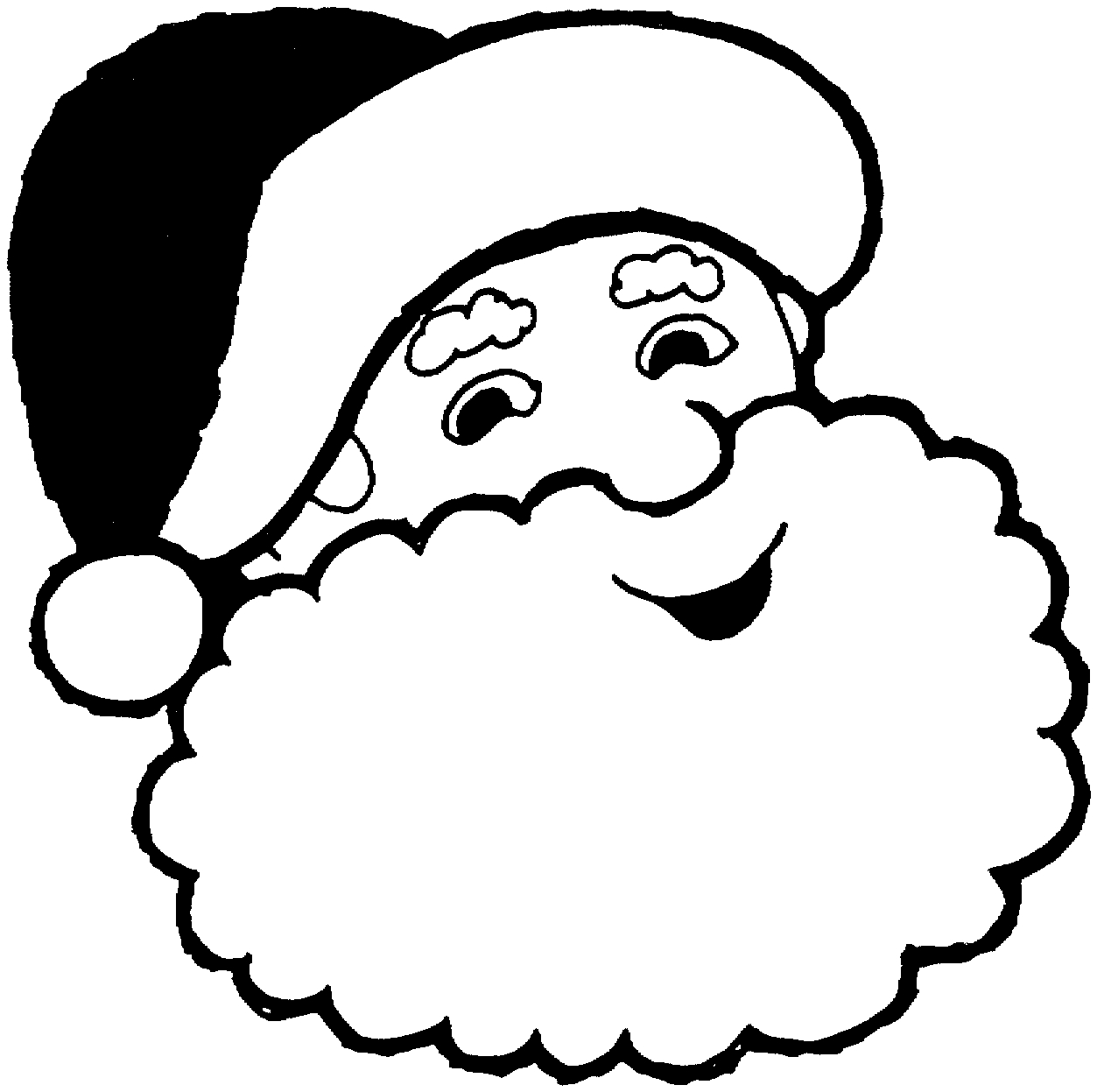 Santa Hat Coloring Picture With Pages Of Claus Face Elegant Printable