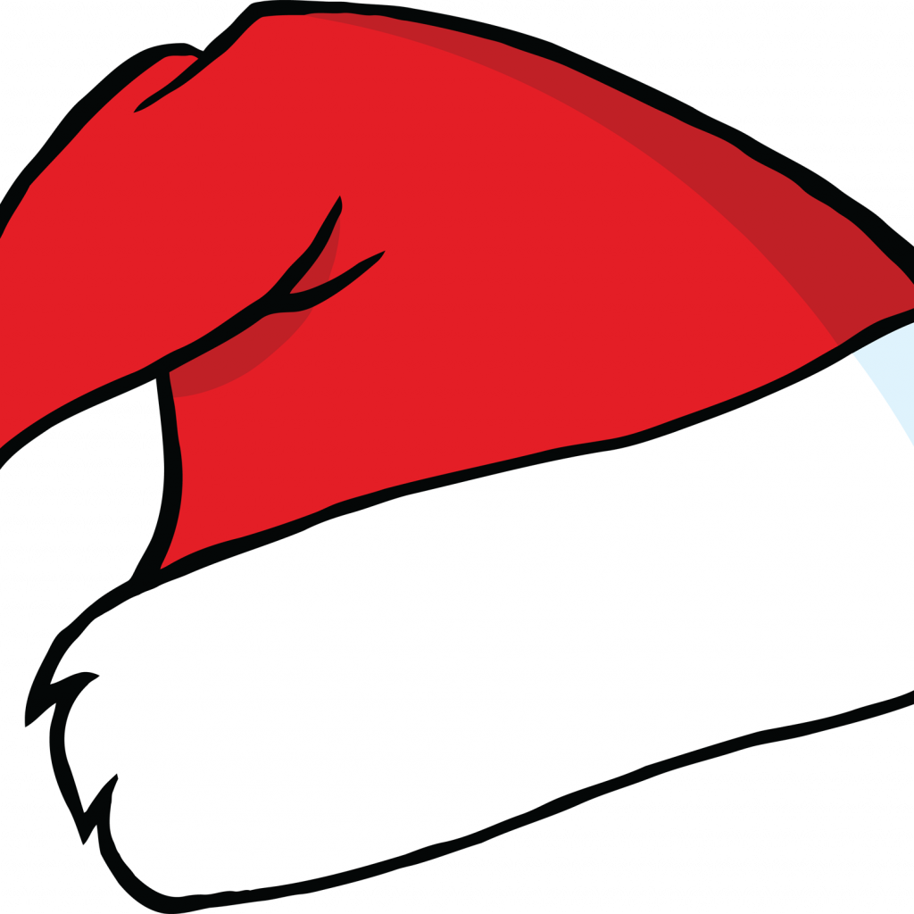 Santa Hat Coloring Picture With Penguin 1 Head Cartoon Black White Line Sheet