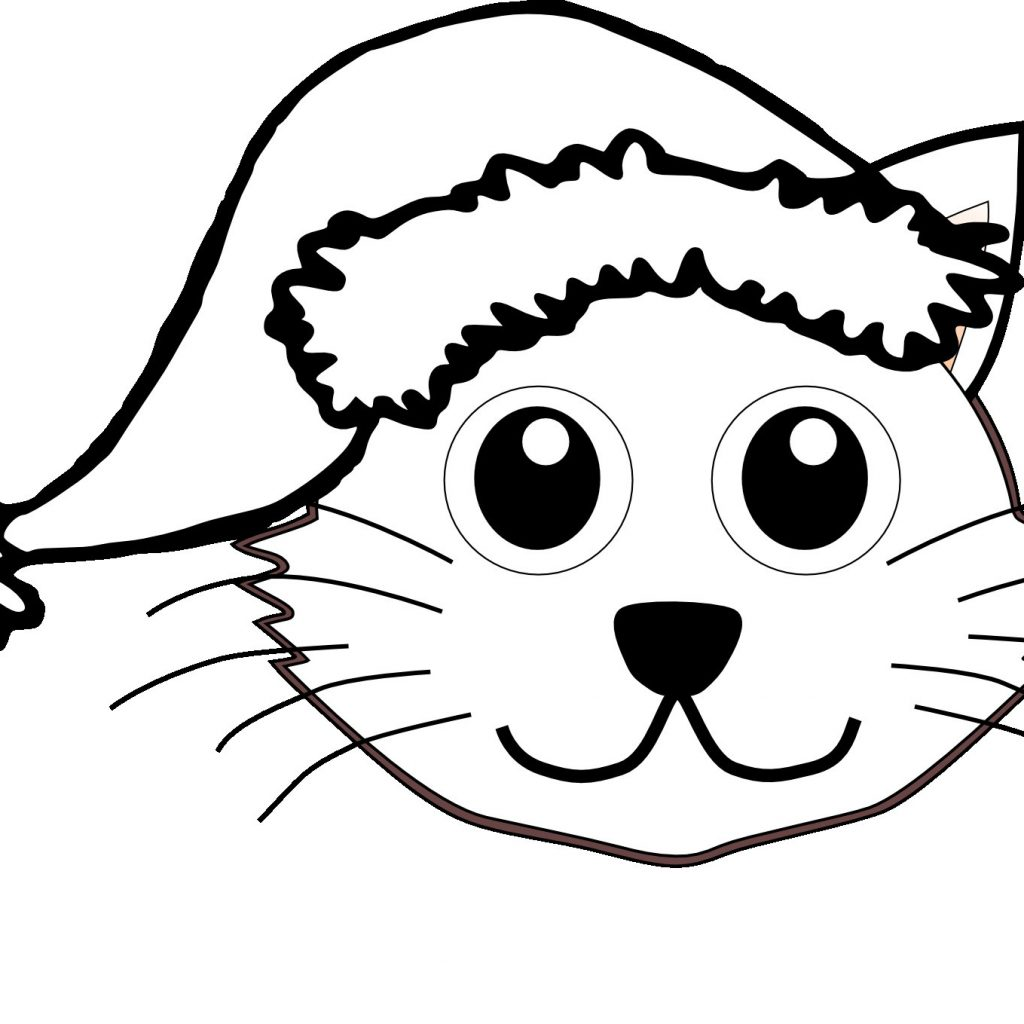 Santa Hat Coloring Template With Christmas Pages Best Cat In The Nice