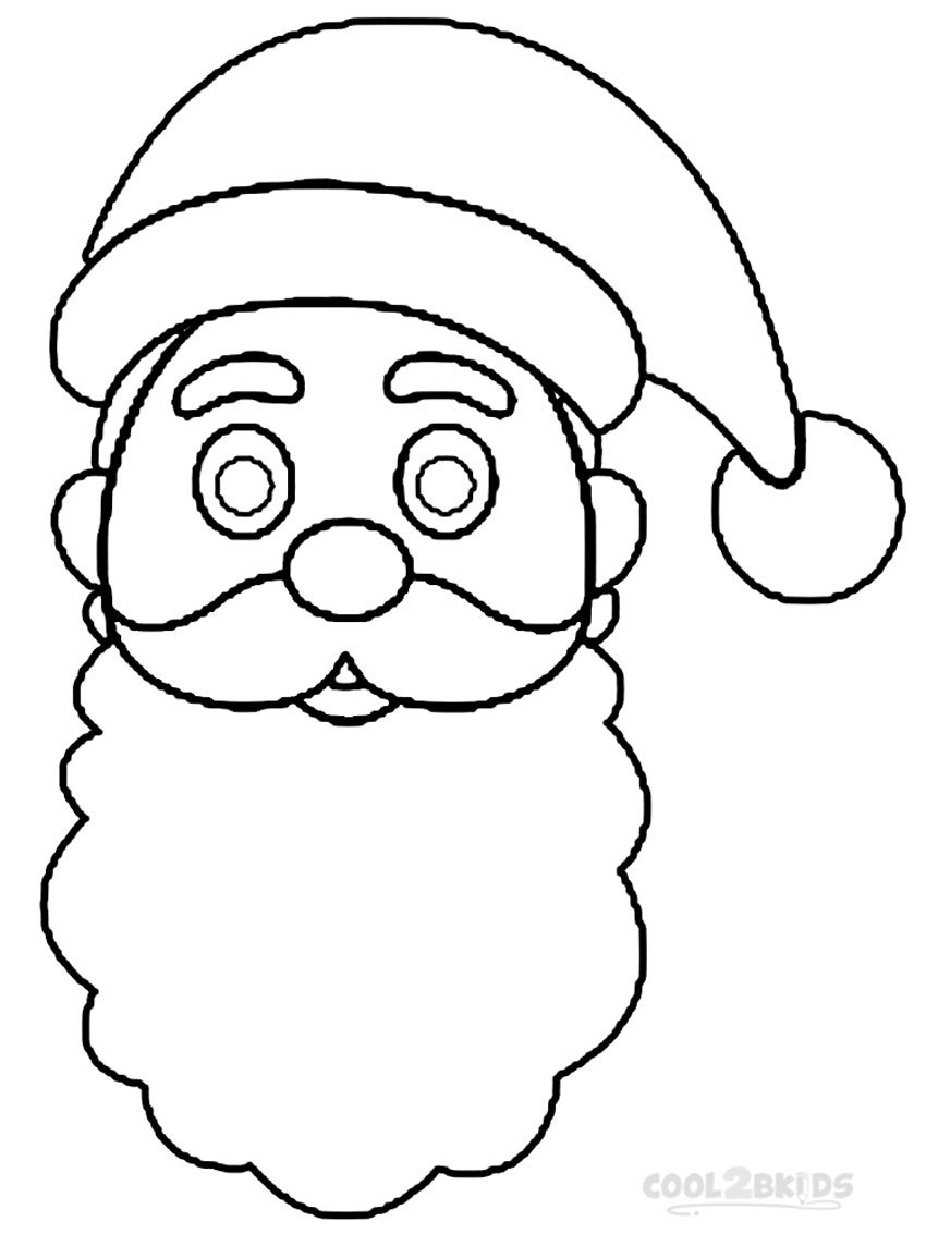 Santa Hat Coloring Template With Claus Outline Sketch Printable Pages For