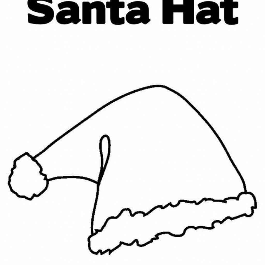 Santa Hat Coloring Template With Page Christmas Pages Printable For Free