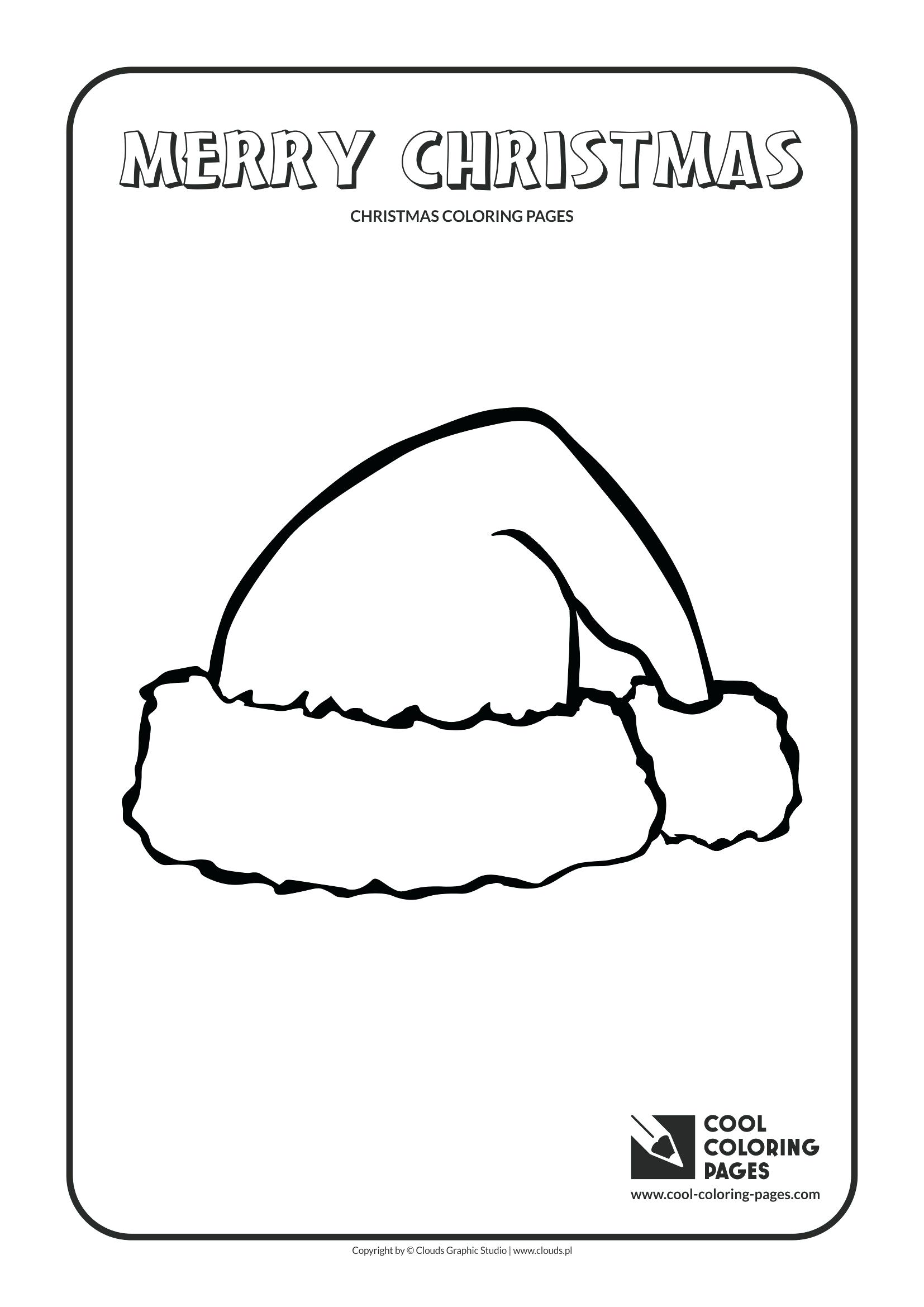 Santa Hat Coloring Template With Page Cool Pages In