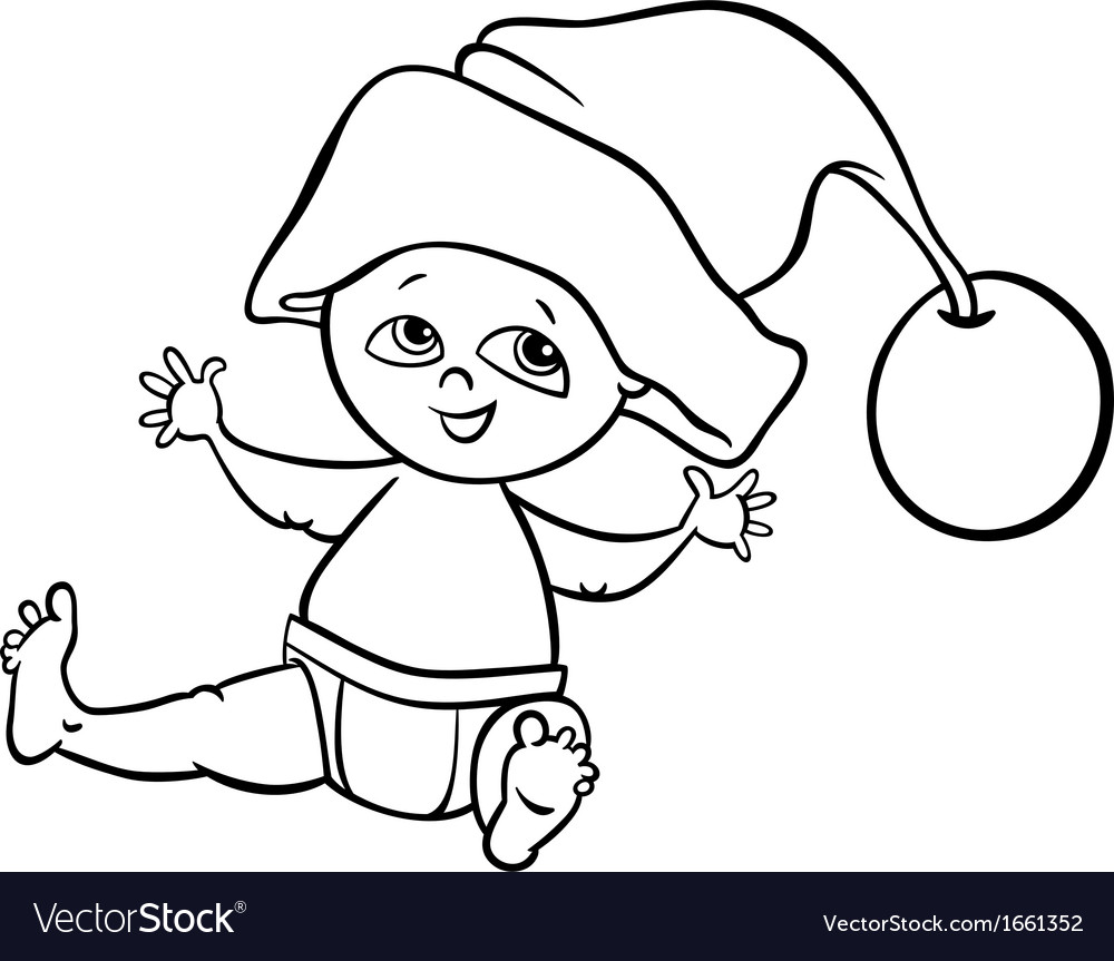 Santa Head Coloring Page With Baby Boy Cartoon Royalty Free Vector