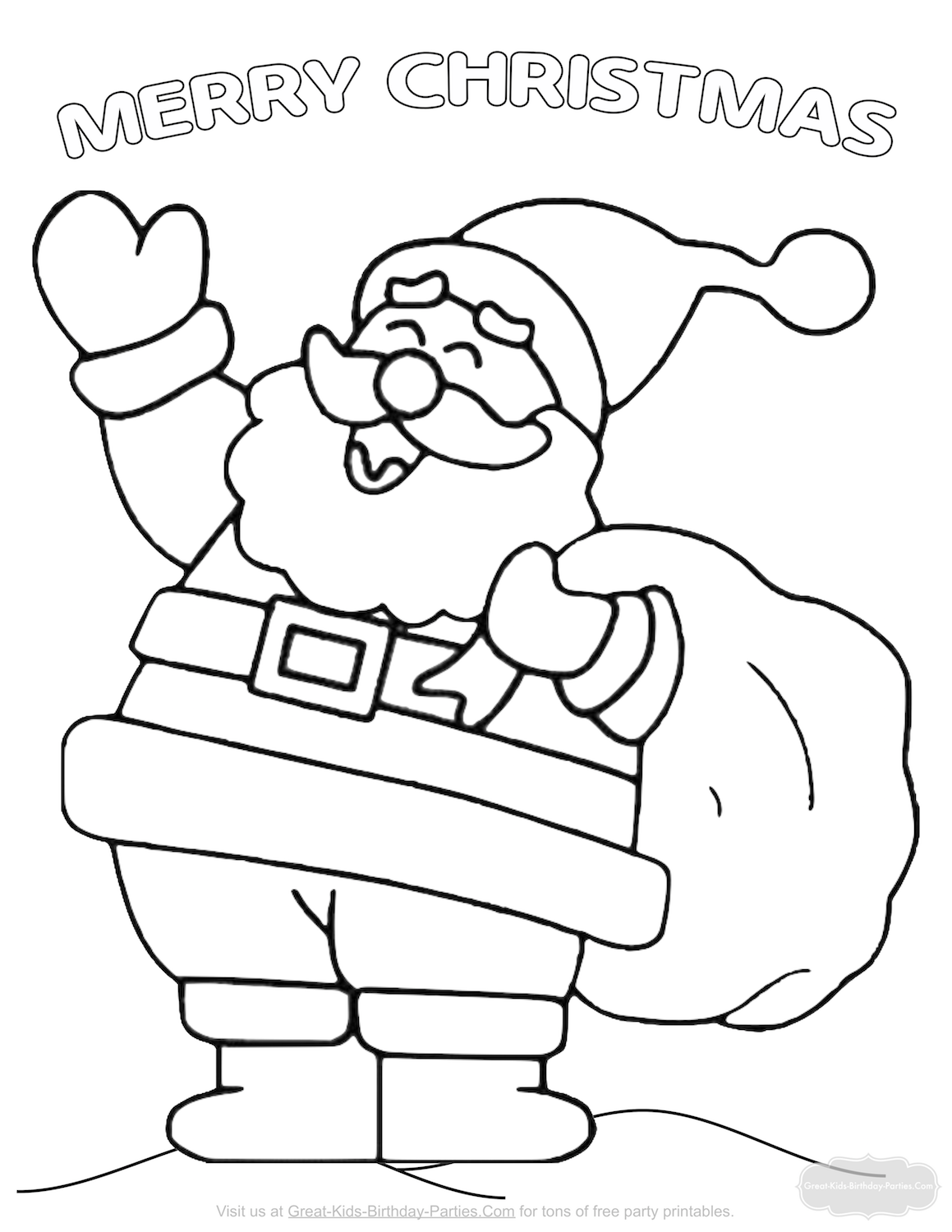 Santa Head Coloring Page With Christmas Pages
