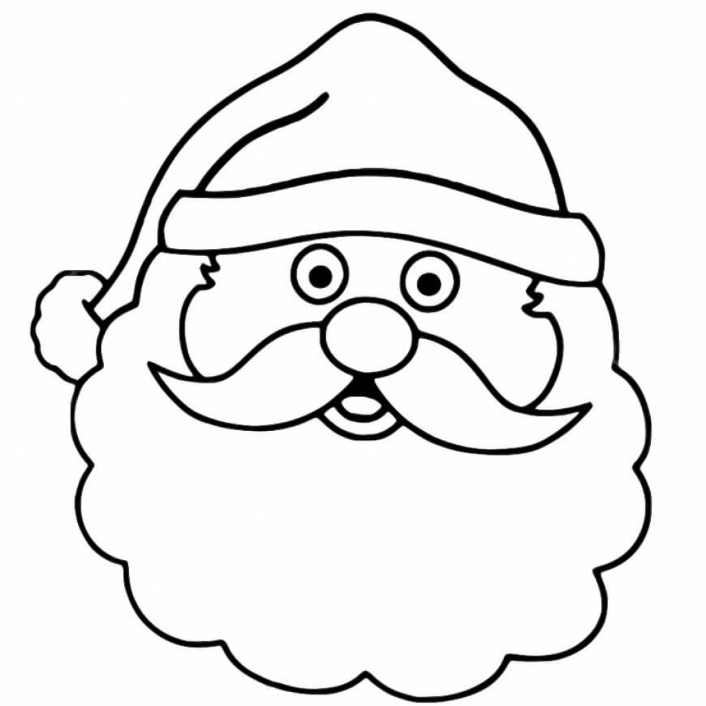 Santa Head Coloring Page With Claus Printable Pages For Christmas