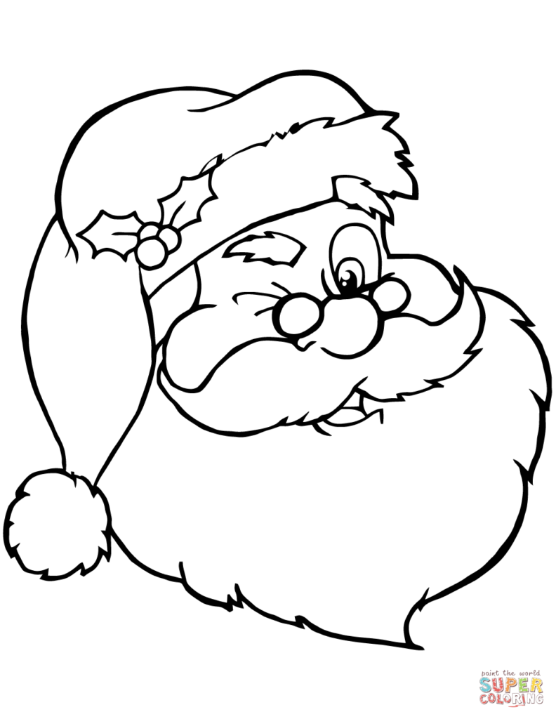 Santa Head Coloring Page With Claus Winking Free Printable Pages