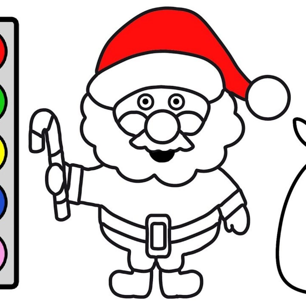 Santa Head Coloring Page With For Kids Christmas Claus