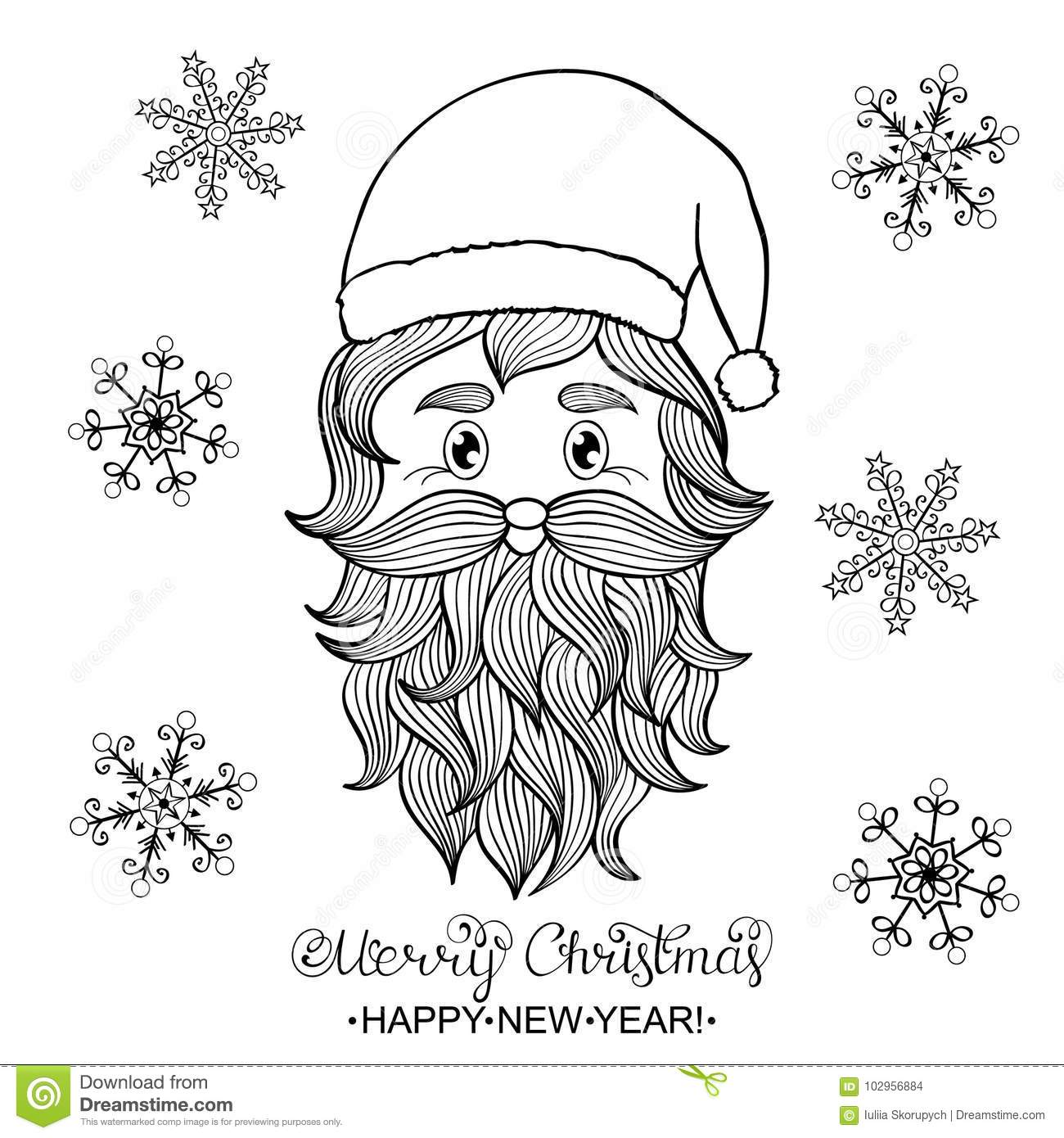 Santa Head Coloring Page With Hand Drawn Of Stock Vector Illustration Black 102956884