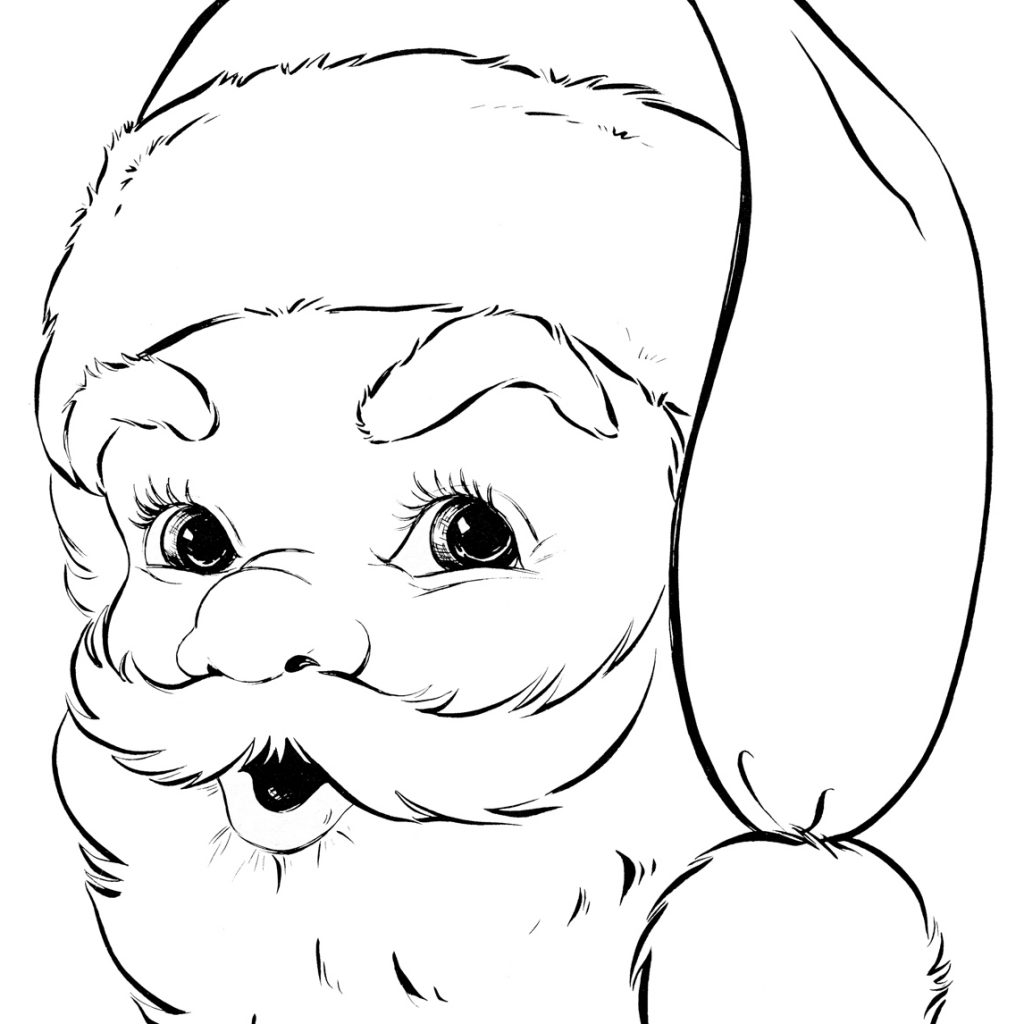 Santa Head Coloring Page With Retro The Graphics Fairy