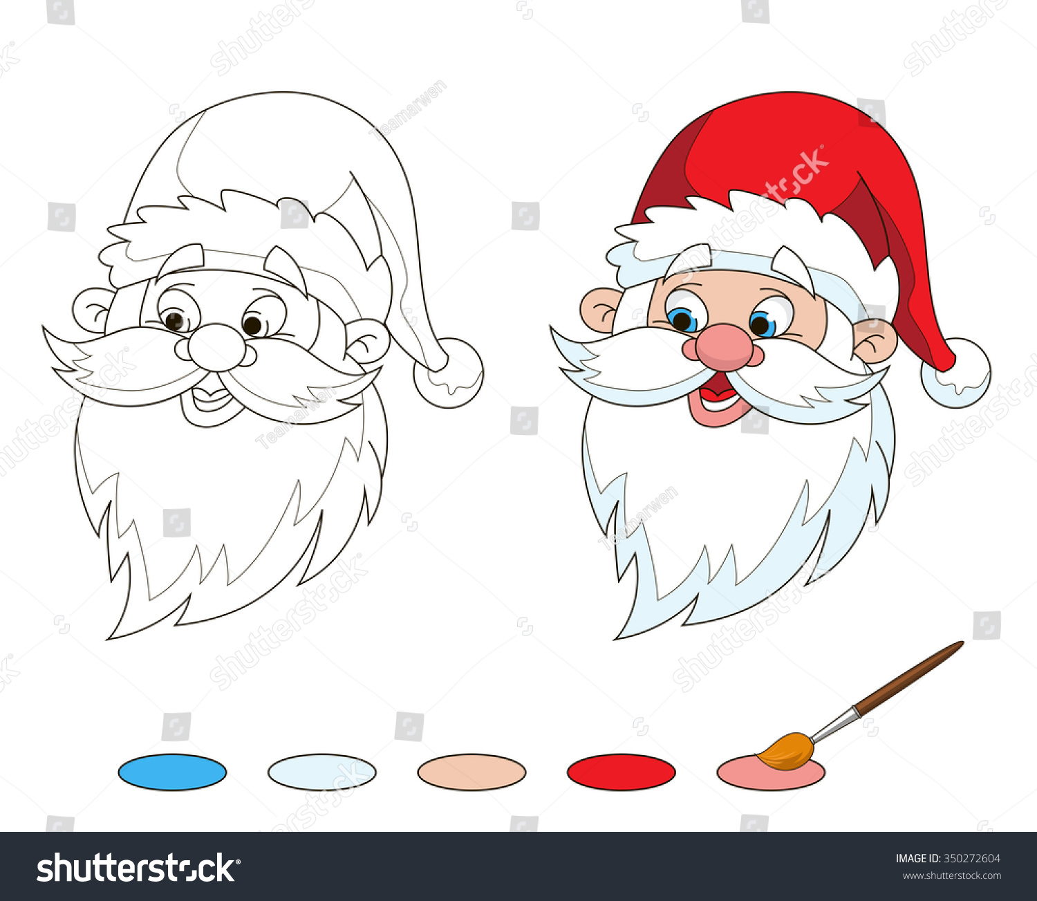 Santa Head Coloring Page With Santas Stock Vector Royalty Free 350272604