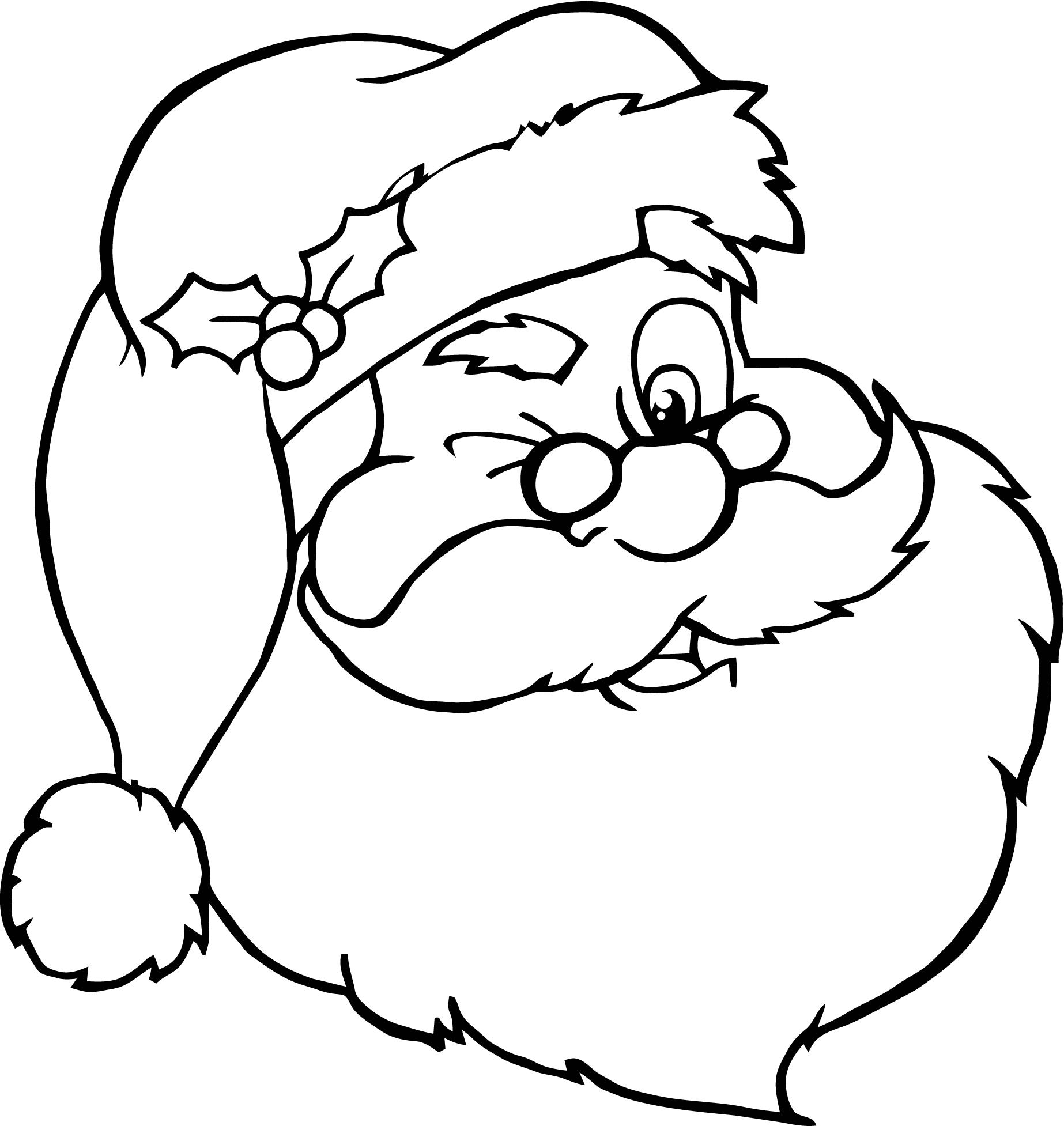Santa Head Coloring Sheet With Awesome Cartoon Claus Pages Design Printable