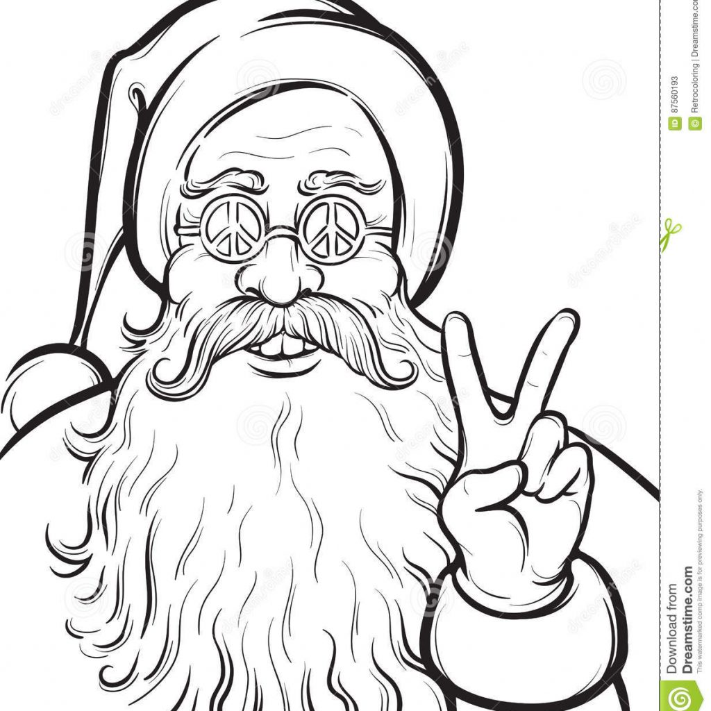 Santa Head Coloring Sheet With Christmas Hippie Page Claus Stock Vector