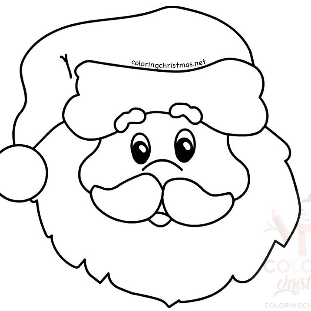Santa Head Coloring Sheet With Claus Simple Portrait Page Christmas