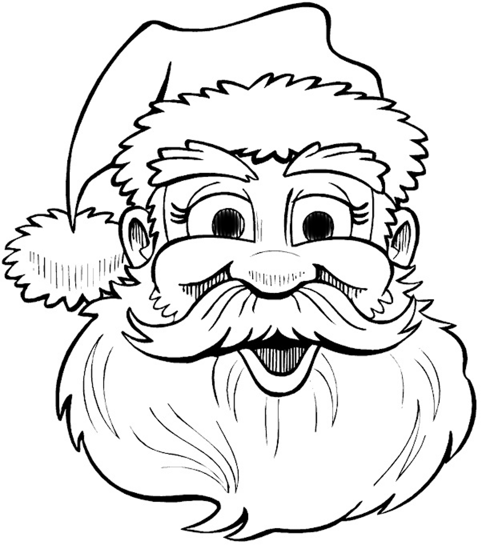 Santa Head Coloring Sheet With Face Pages Pictures IMAGIXS Clip