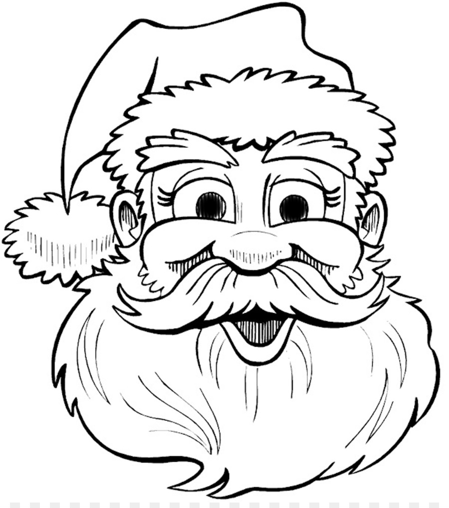 Santa Head Coloring With Claus Drawing Christmas Book Clip Art