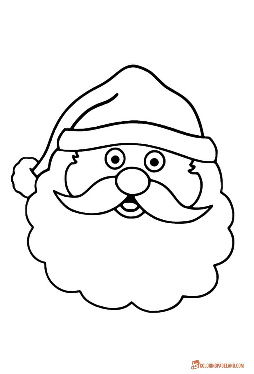 Santa Head Coloring With Claus Printable Pages For Christmas
