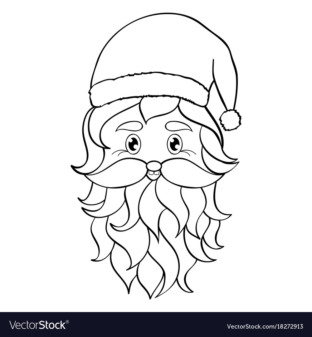 Santa Head Coloring With Hand Drawn Of Royalty Free Vector Image