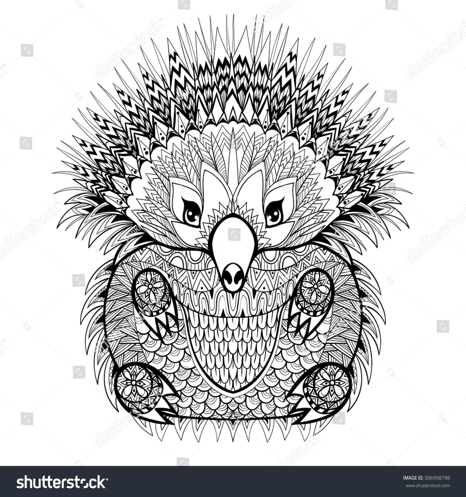 Santa In Australia Coloring Sheets With Hand Drawn Tribal Totem Echidna Australian Stock Vector Royalty