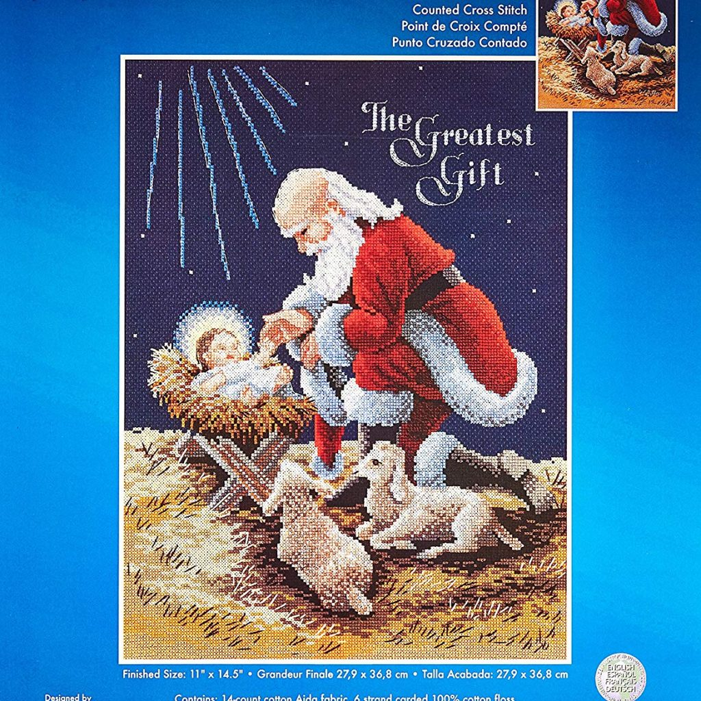 Santa Kneeling At Manger Coloring Page With Amazon Com Janlynn Counted Cross Stitch Kit