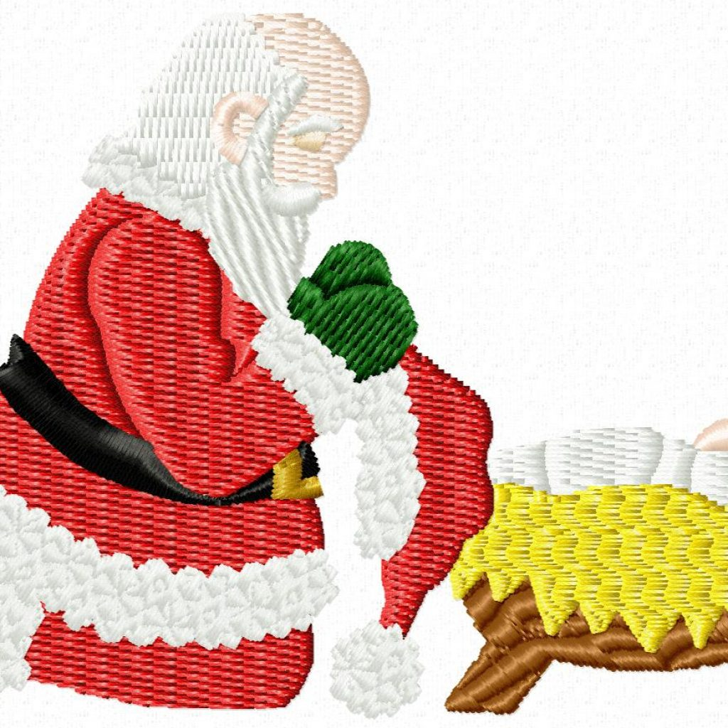 Santa Kneeling At Manger Coloring Page With Applique Embroidery Design Kris Rhoades