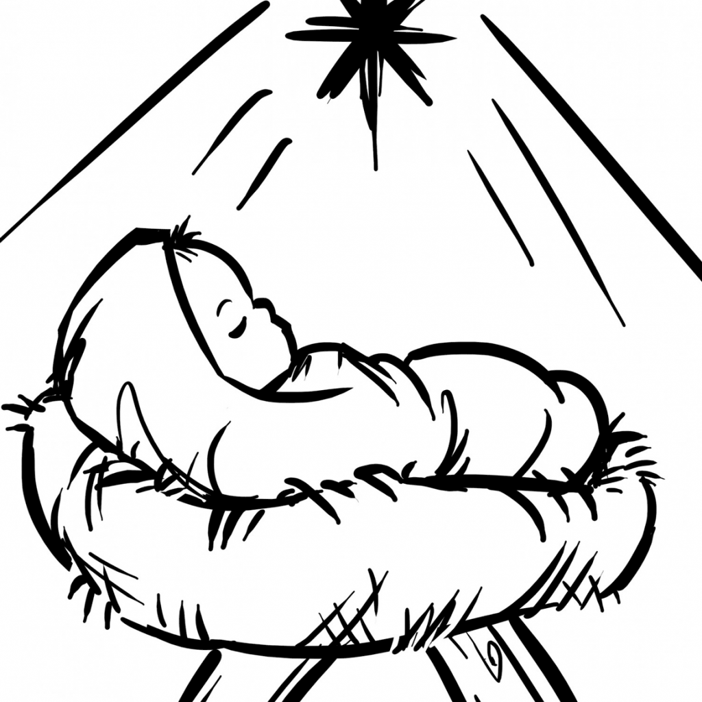 Santa Kneeling At Manger Coloring Page With Baby Jesus In A Free Printable Pages