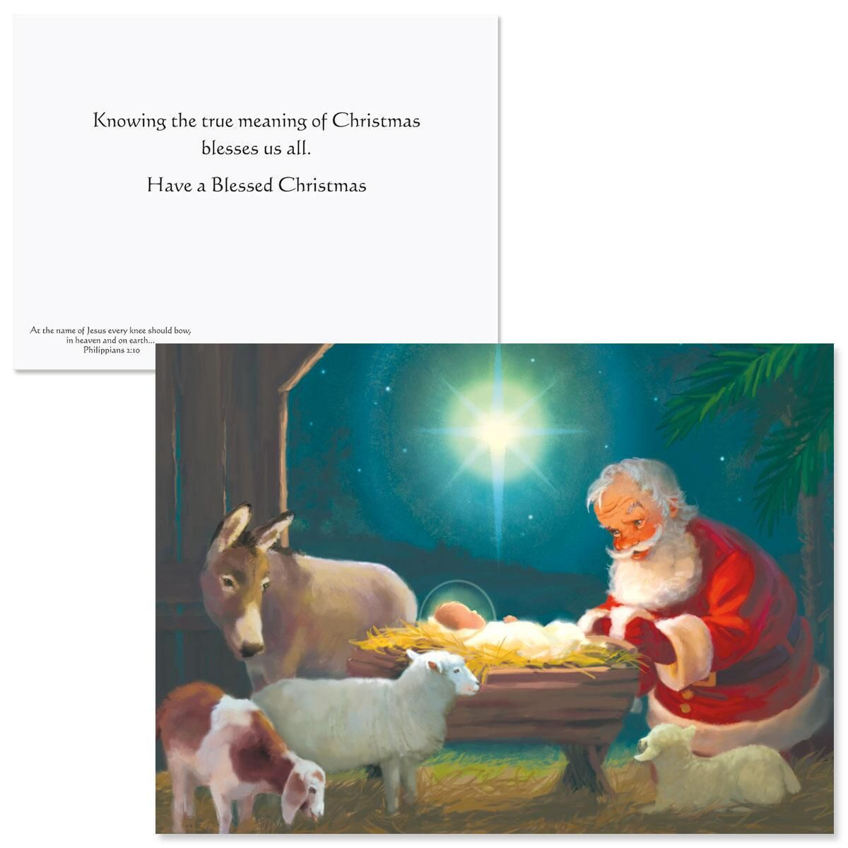 Santa Kneeling At Manger Coloring Page With Christmas Cards Current Catalog