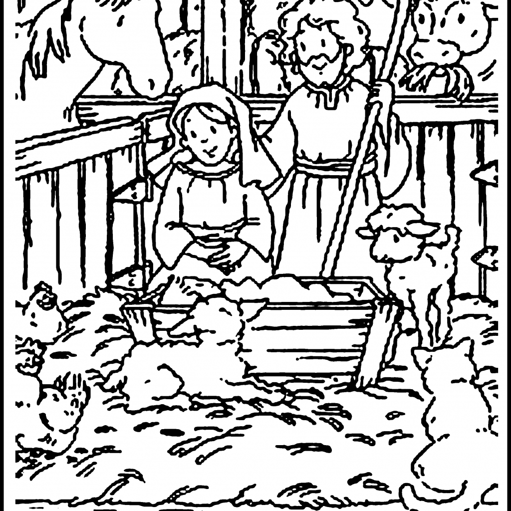 Santa Kneeling At Manger Coloring Page With Christmas Pages To Print For Class Gift Bags