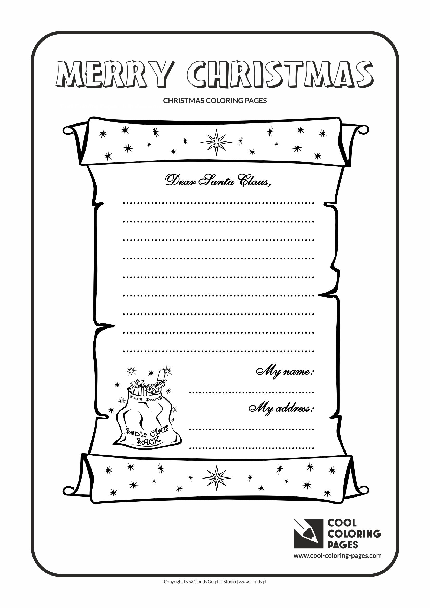 Santa Letter Coloring Page With Cool Pages To Claus No 1