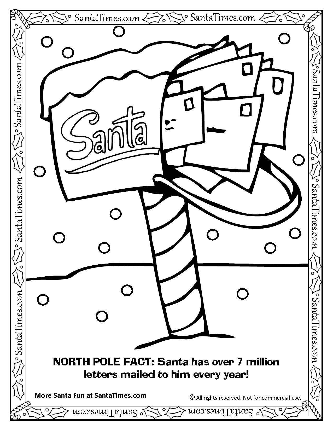 Santa Letter Coloring Page With S North Pole Mailbox Printout More Fun Holiday