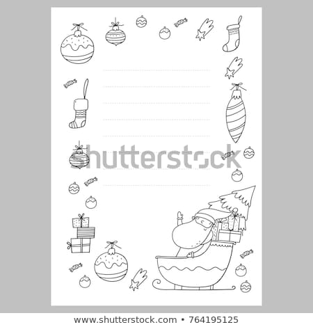 Santa Letter Coloring Sheet With Christmas Page Wish List Stock Vector Royalty