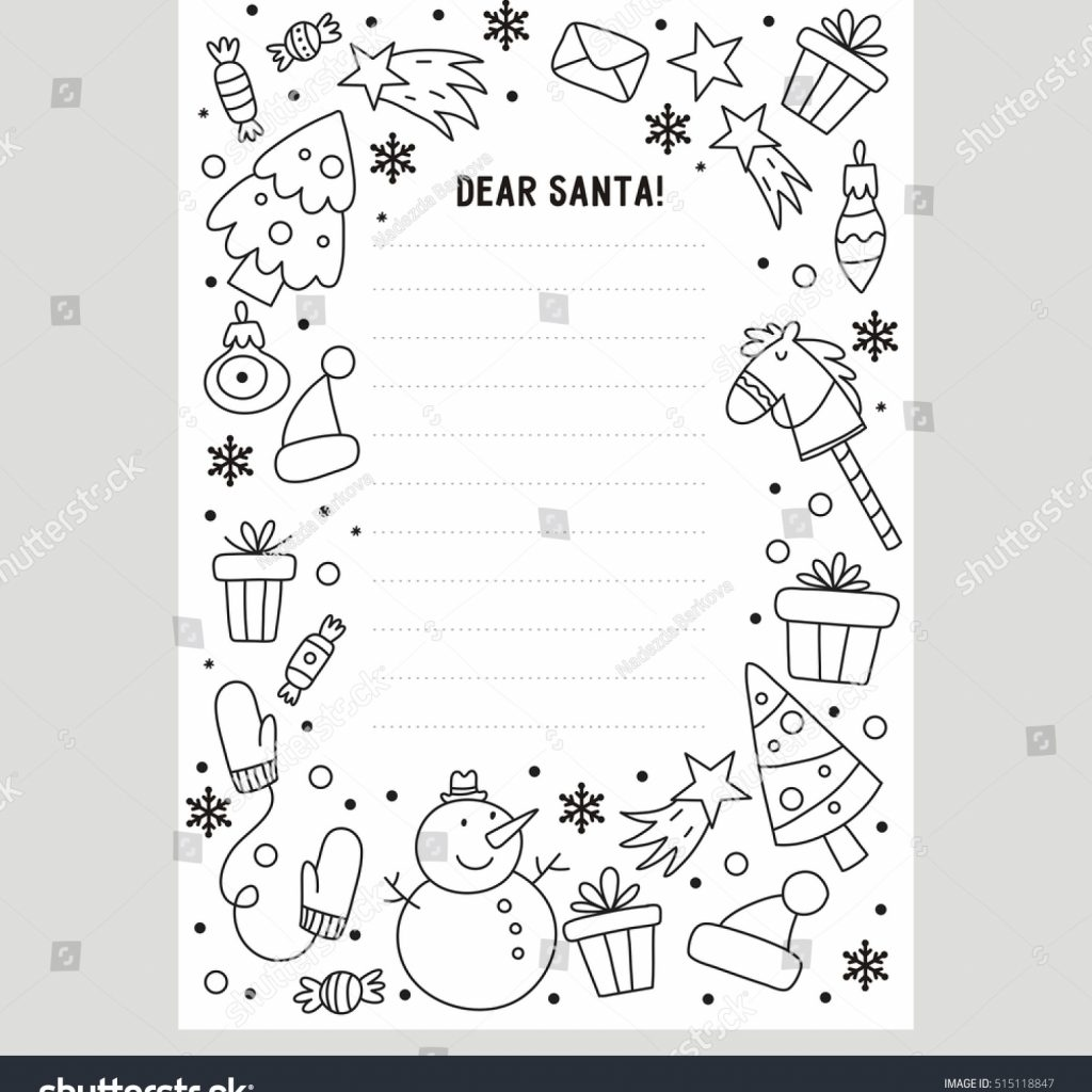 Santa Letter Coloring Sheet With Dear Page Stock Vector Royalty Free