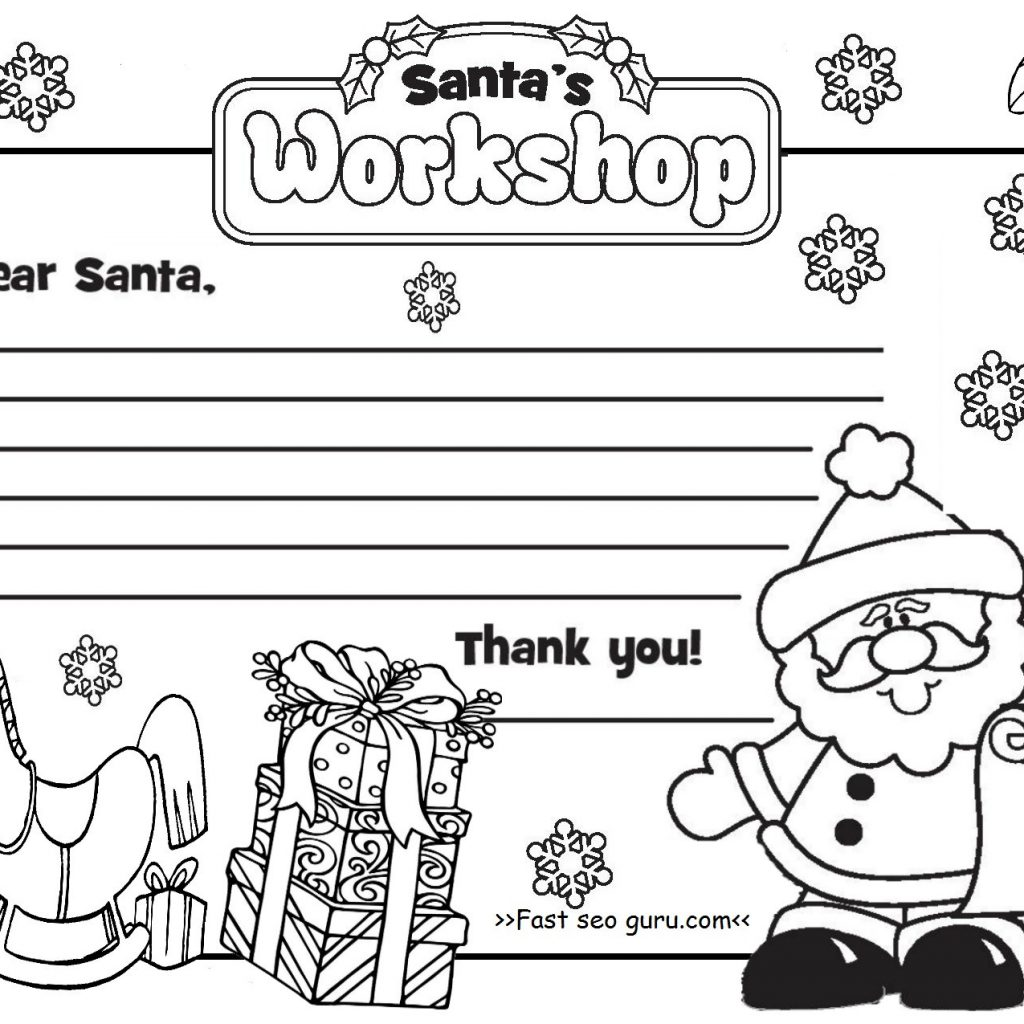 Santa Letter Coloring Sheet With Page To Free Pages Fine Fiscalreform