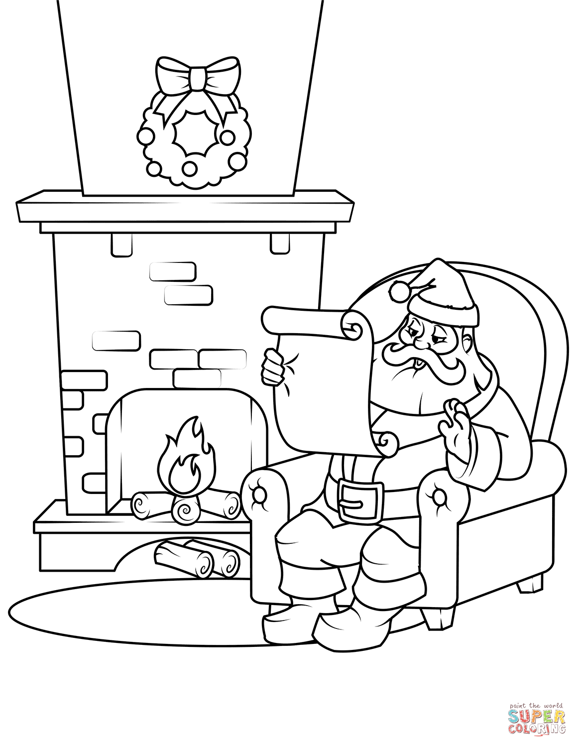 Santa List Coloring Pages With Checking His Page Free Printable